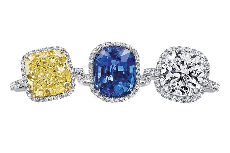 Harry Winston cushion-cut yellow diamond, sapphire and diamond micropavé engagement rings