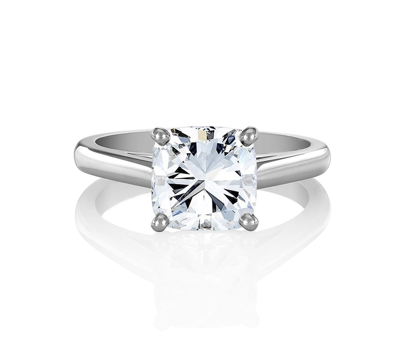 De Beers classic cushion-cut solitaire diamond engagement ring