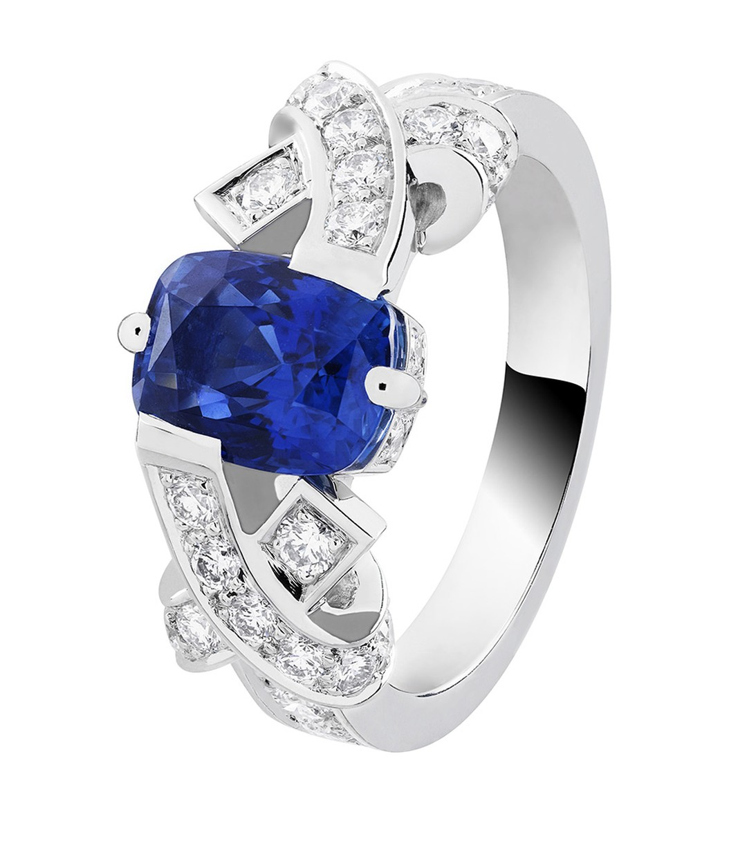 Van Cleef & Arpels Entrelacs solitaire engagement ring in platinum, set with a 2.28ct cushion-cut sapphire and diamonds