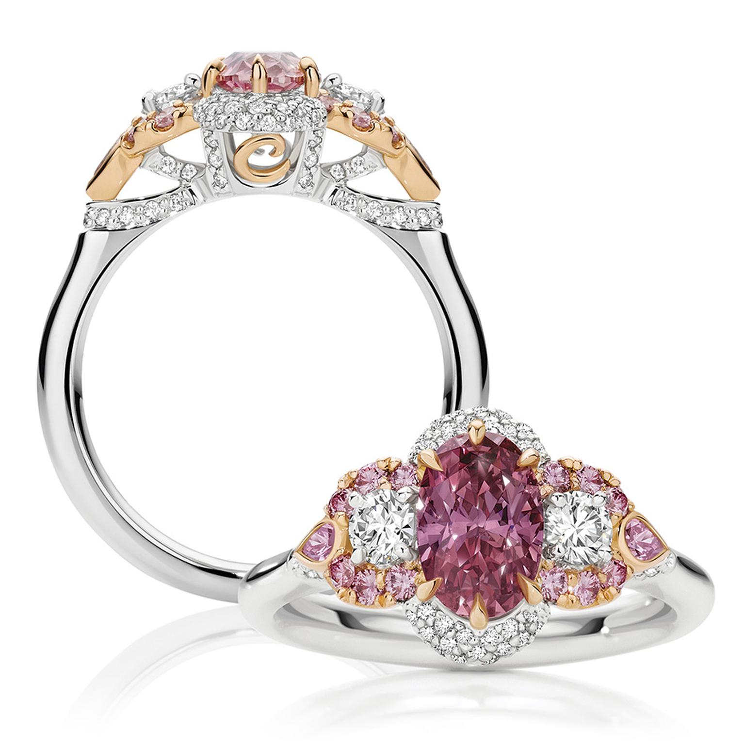 Calleija Antoinette engagement ring, set with a 1.05ct Argyle Pink diamond surrounded by pink and white diamonds.