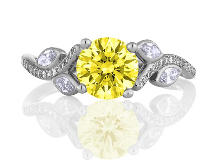De Beers Adonis Rose Yellow Diamond solitaire engagement ring in platinum set with melée diamonds