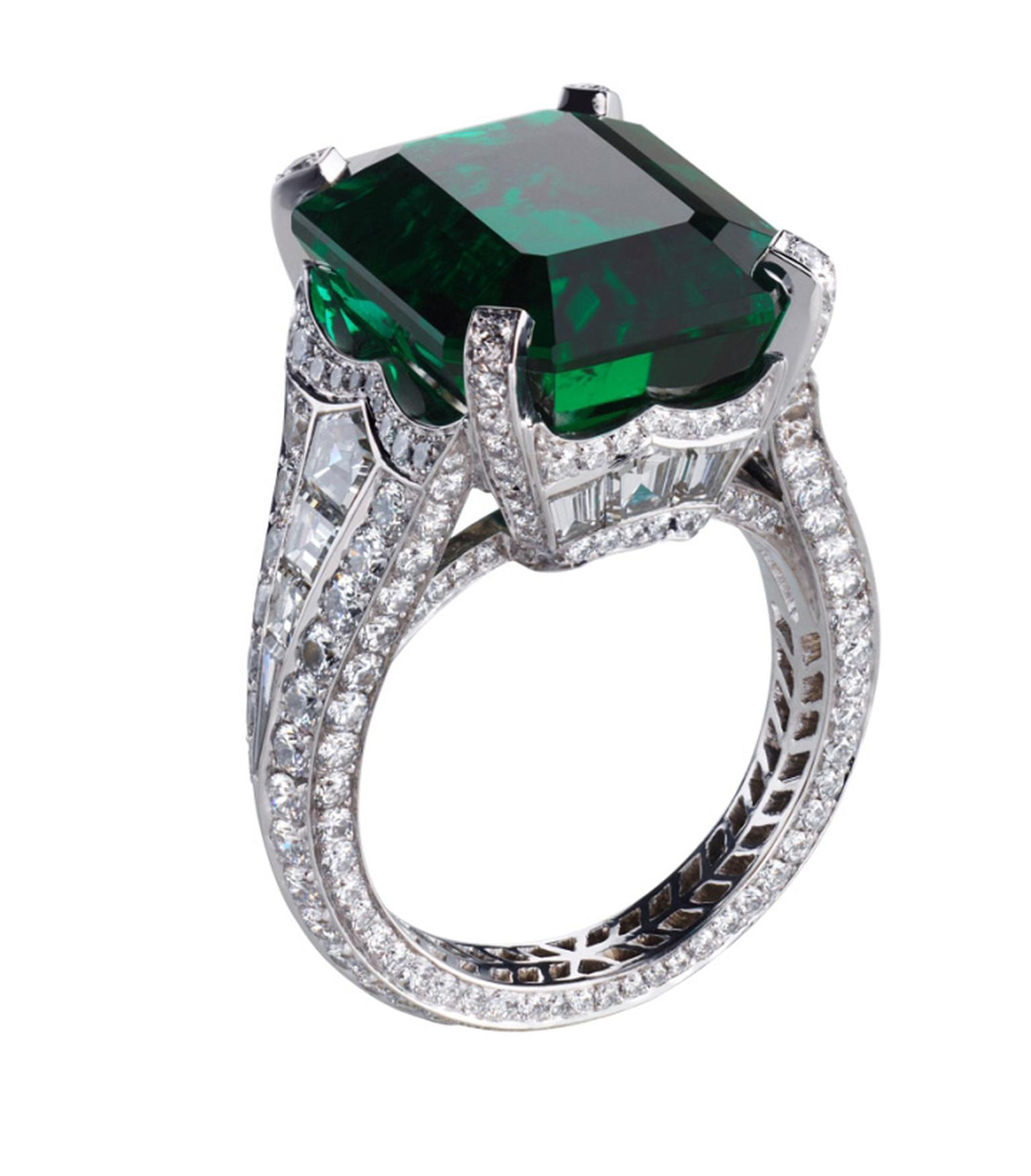 Fabergé Devotion emerald ring in platinum, with a central rectangle cut Gemfields Zambian emerald