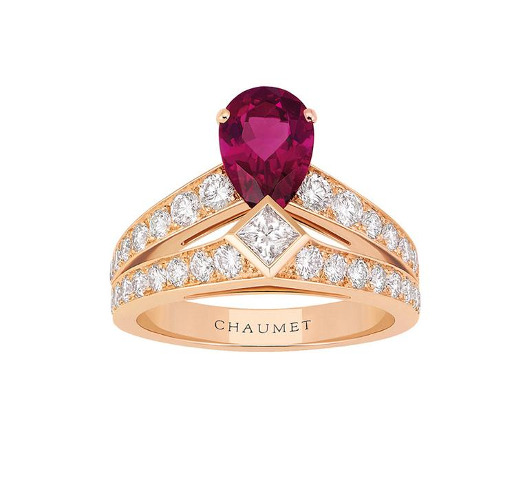 Chaumet Josephine ring in pink gold with diamonds and a pear-shaped rubellite
