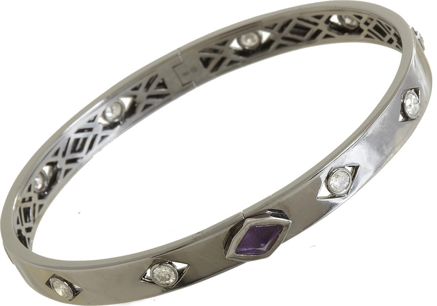 Unisex Deborah Pagani S&M bracelet in 18k white gold with an amethyst pyramid and diamonds, from the Family Jewels collection