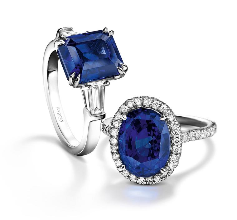 Asprey engagement rings with central sapphires