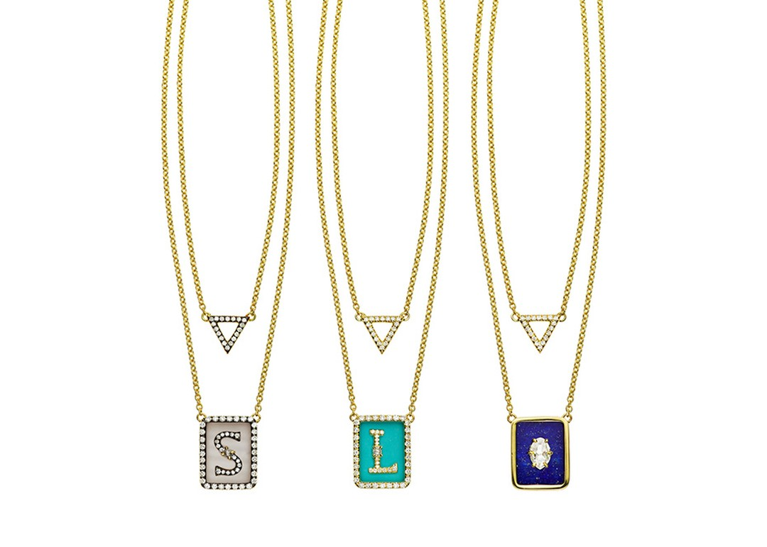 Jemma Wynne Tablet necklaces in yellow gold, featuring striped chalcedony, turquoise and lapis lazuli with white diamonds