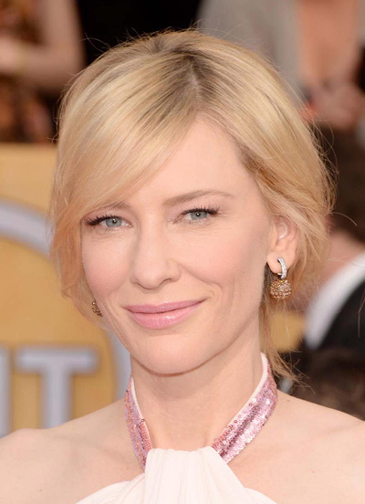 Cate Blanchett wore a pair of 45ct brown diamond briolette drop earrings from Chopard's Copacabana Collection for the Screen Actors Guild awards 2014