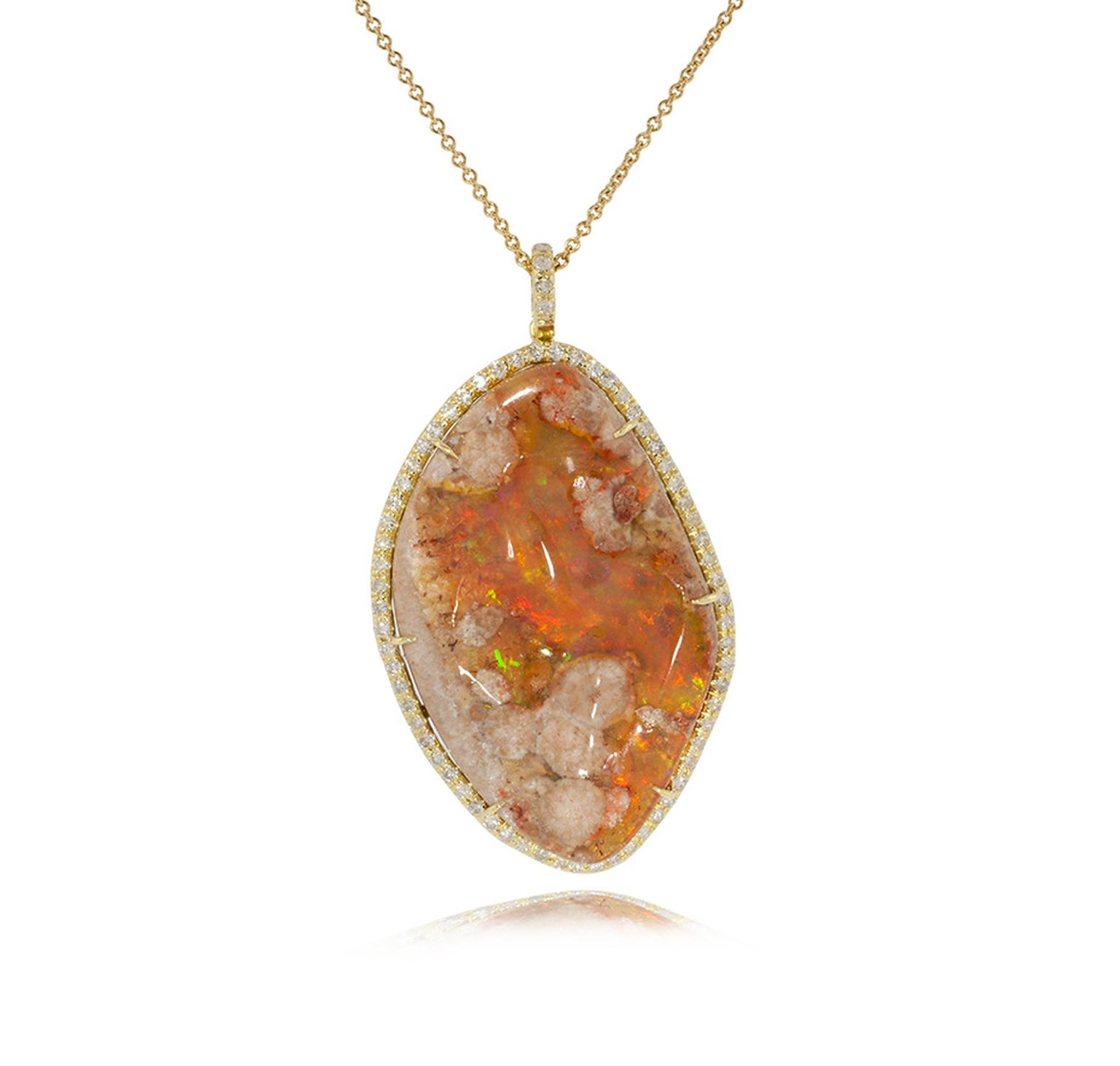 Kimberly McDonald fire opal matrix and diamond pendant in yellow gold