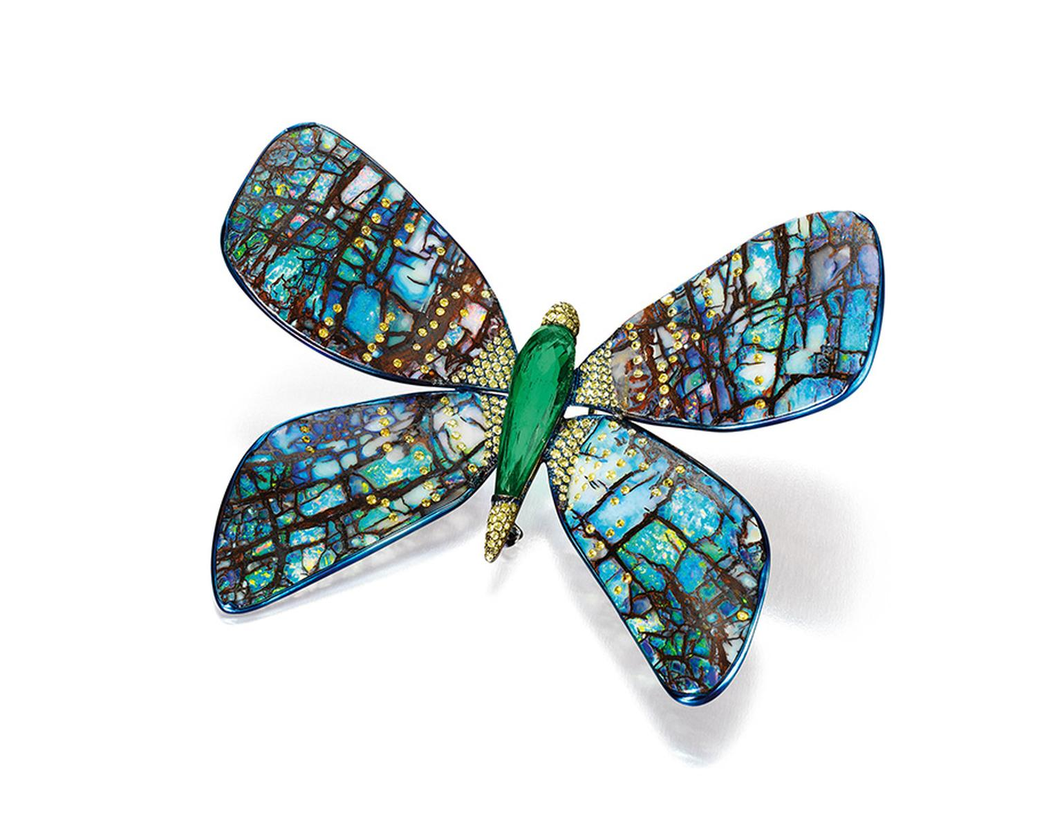 Boghossian opal and emerald butterfly brooch