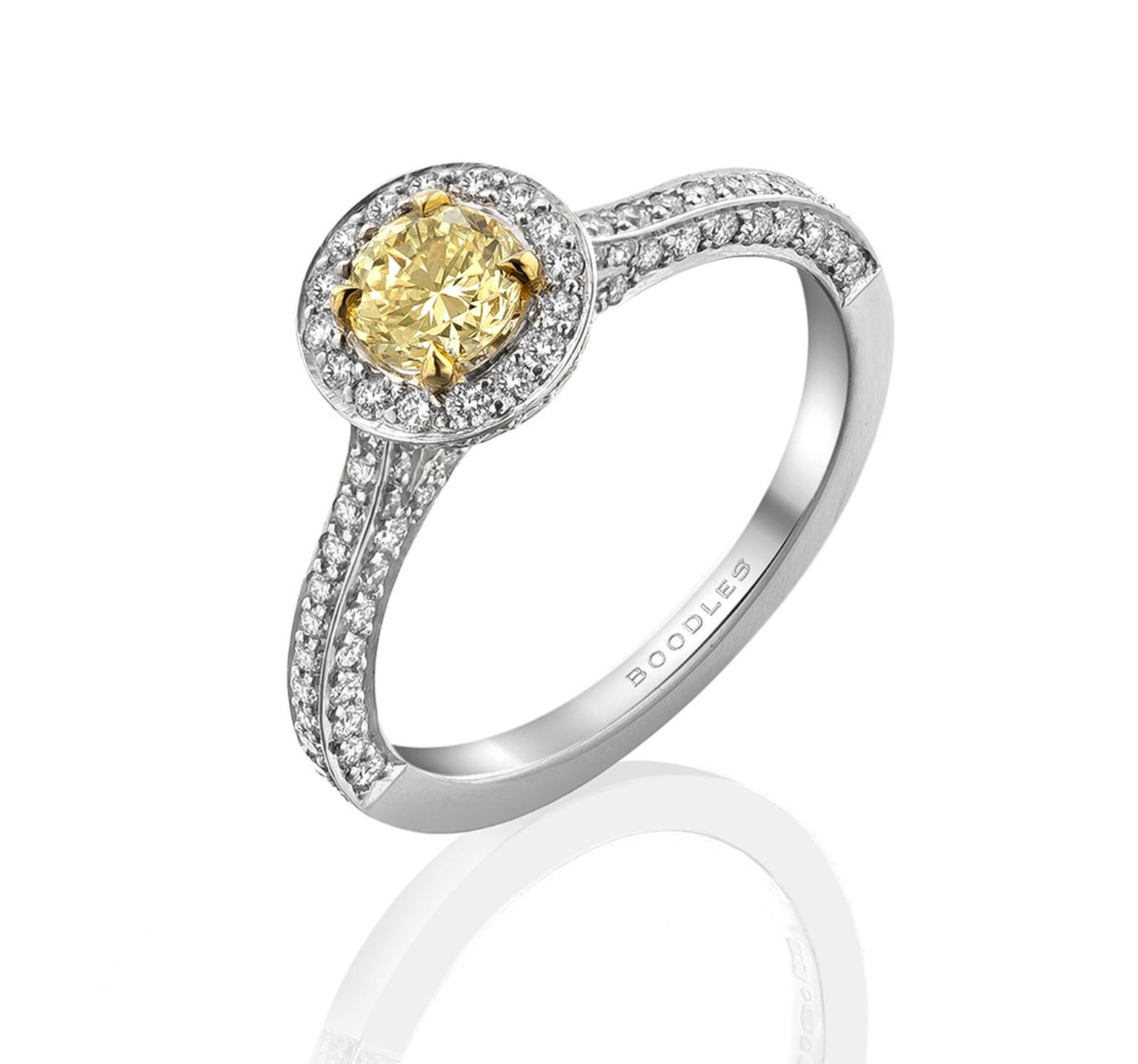 Boodles Vintage Classic yellow diamond engagement ring in platinum, set with a round-brilliant cut yellow diamond (from £8,760)