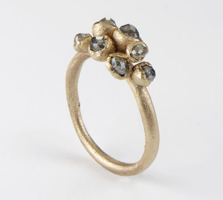Ruth Tomlinson Grey Cluster Diamond ring in 9ct yellow gold, set with grey natural diamonds (from £1,300)