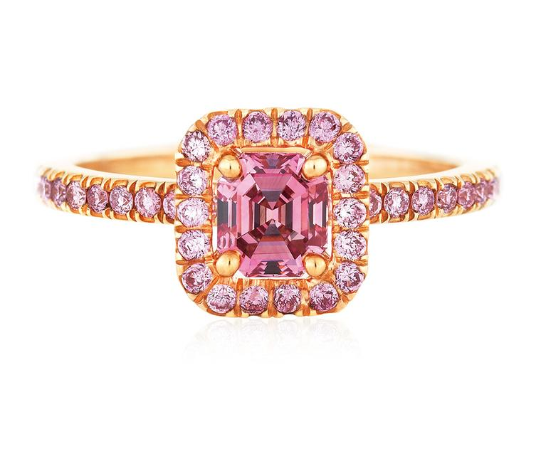 De Beers Aura Pink Diamond Emerald Cut ring, set in pink gold (POA).