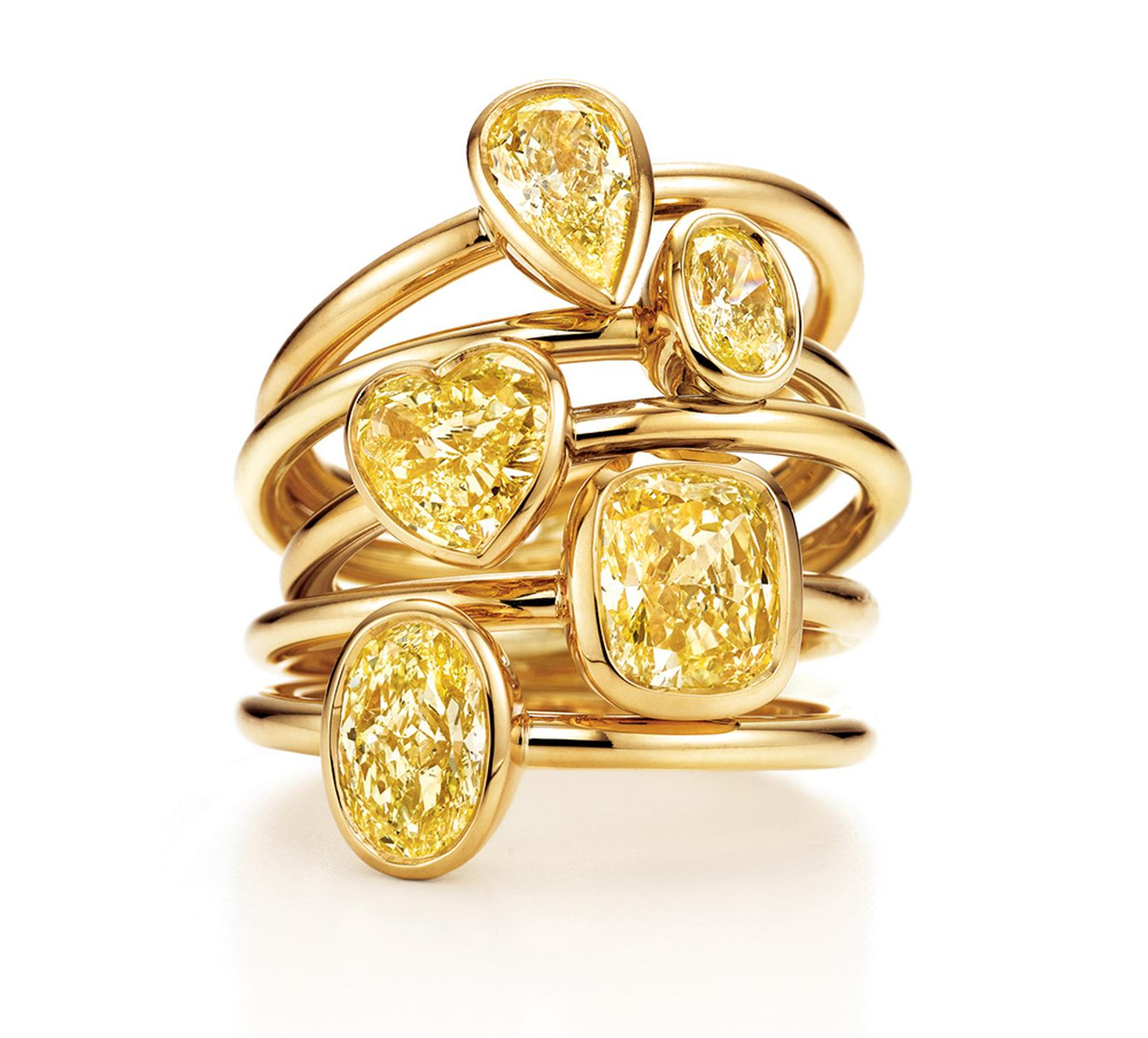 Tiffany & Co solitaire rings in yellow gold, from the Yellow Diamond Collection (from £3,400).