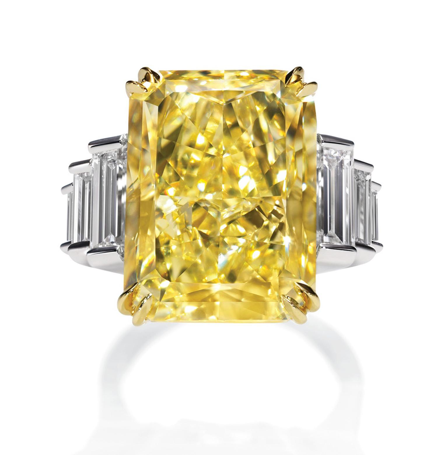 Harry Winston Incredible Radiant-cut Yellow Diamond ring in 18ct yellow gold with platinum (POA)