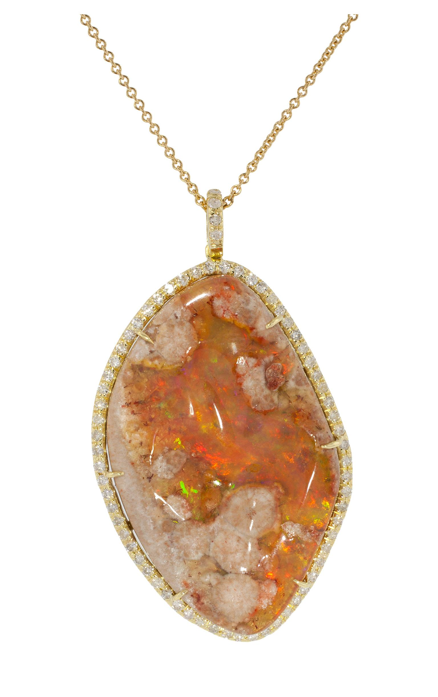 Kimberly McDonald fire opal matrix and diamond pendant in yellow gold_20140318_Zoom