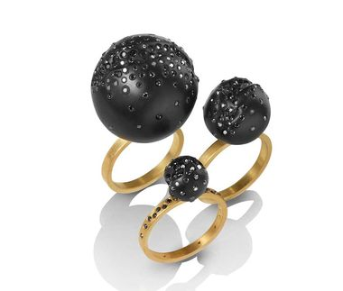 Jacqueline Cullen Whitby jet and black diamond ball cocktail rings