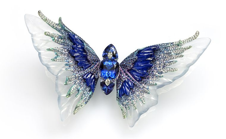 Wallace Chan Whimsical Blue brooch from the Fluttery series featuring three tanzanites set with diamonds, carved icy jadeite, lapis lazuli and sapphire.