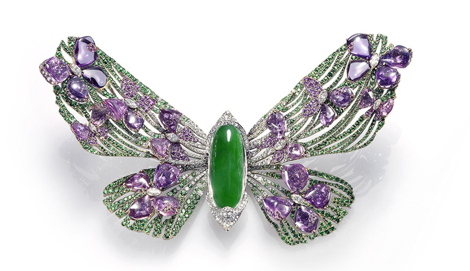 Wallace Chan Painted Lady brooch from the Fluttery Series, created for the Biennale des Antiquaires 2012 featuring jadeite, diamonds, pink sapphires and rubies.