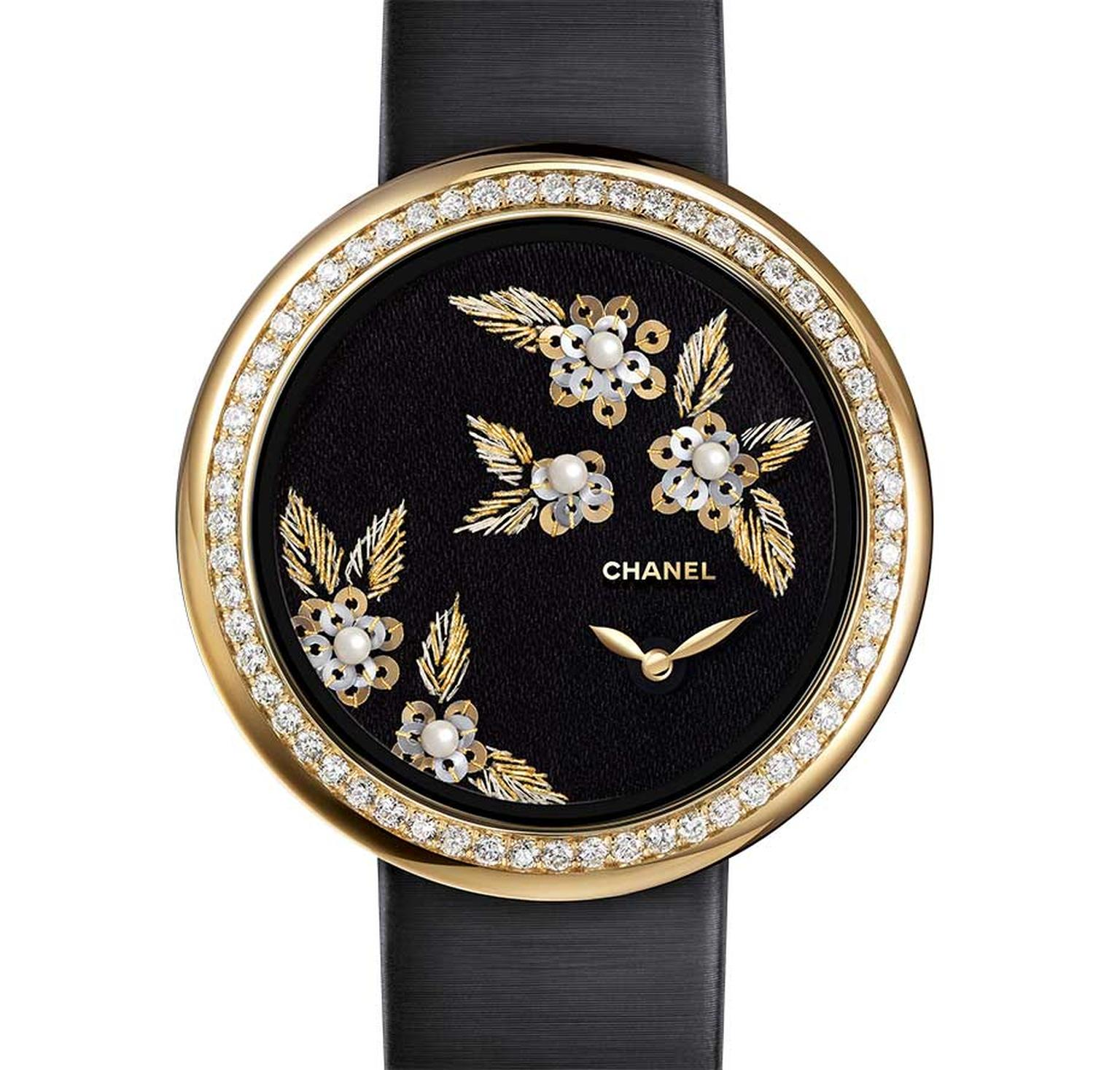 Chanel Mademoiselle Privé Camellia Brodé Lesage watch, hand embroidered with gold and green silk thread, thread, yellow and white hold gold sequins and natural pearls