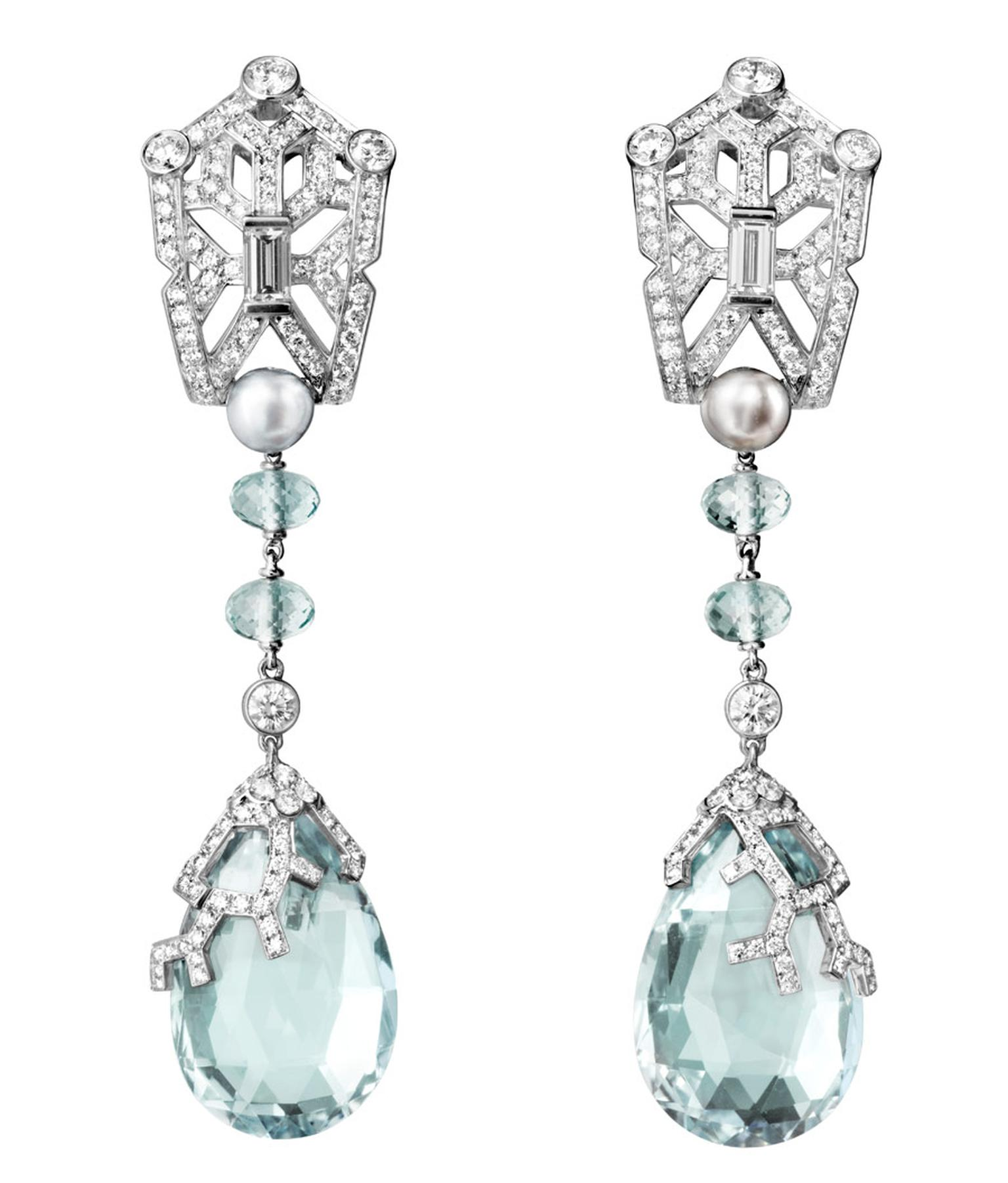 Cartier platinum Boreal Earrings featuring aquamarines, natural pearls and baguette-cut diamonds, brilliants. Image by: Vincent Wulveryck © Cartier 2012