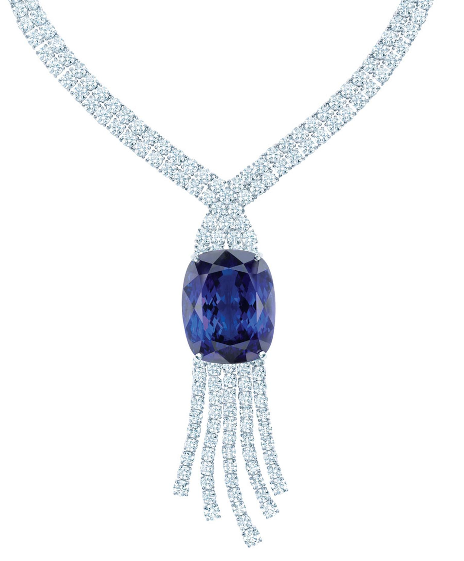 Tiffany Anniversary platinum necklace, set with over 175ct of tanzanites, complemented by a cascade of round brilliant diamonds.