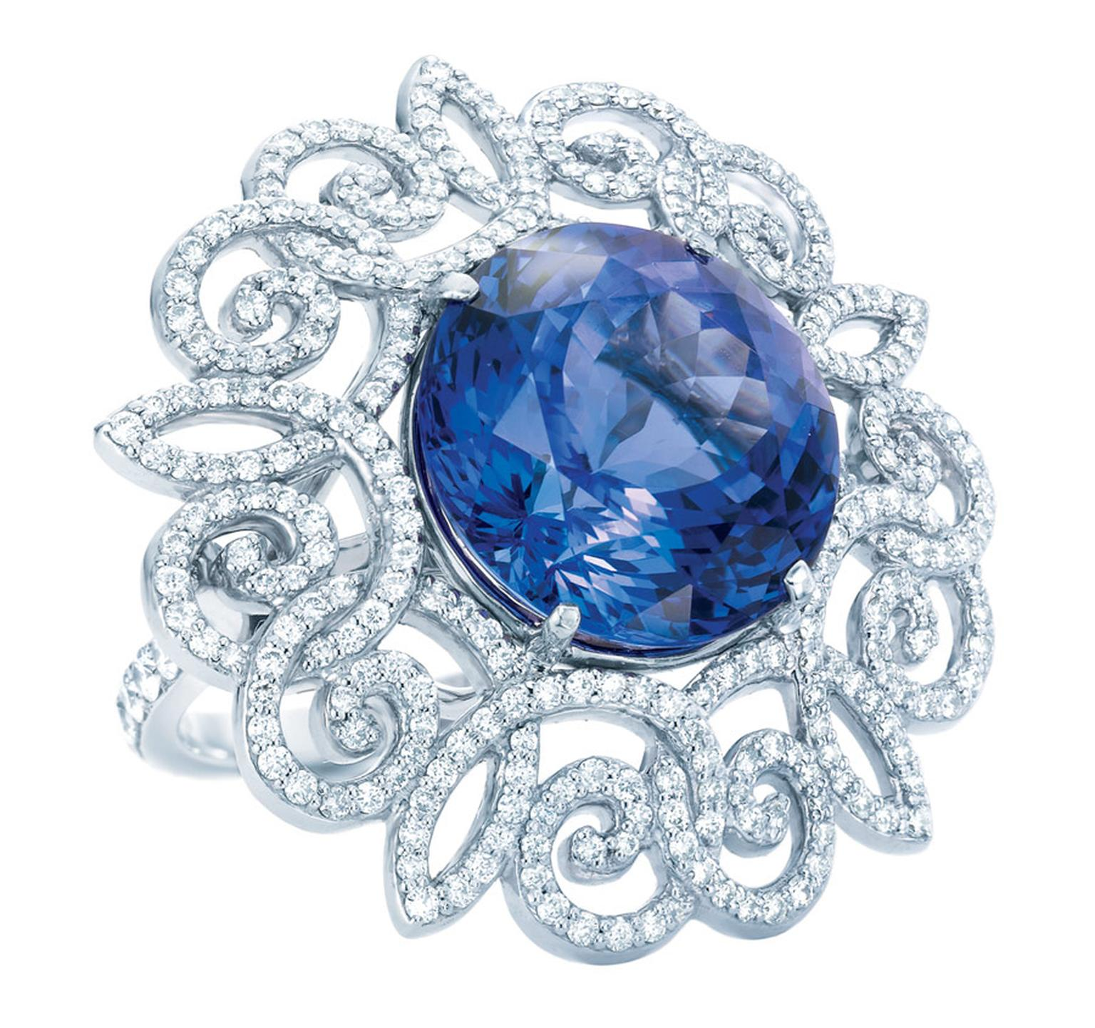Tiffany Anniversary platinum ring with a 9.99ct tanzanite and diamonds.