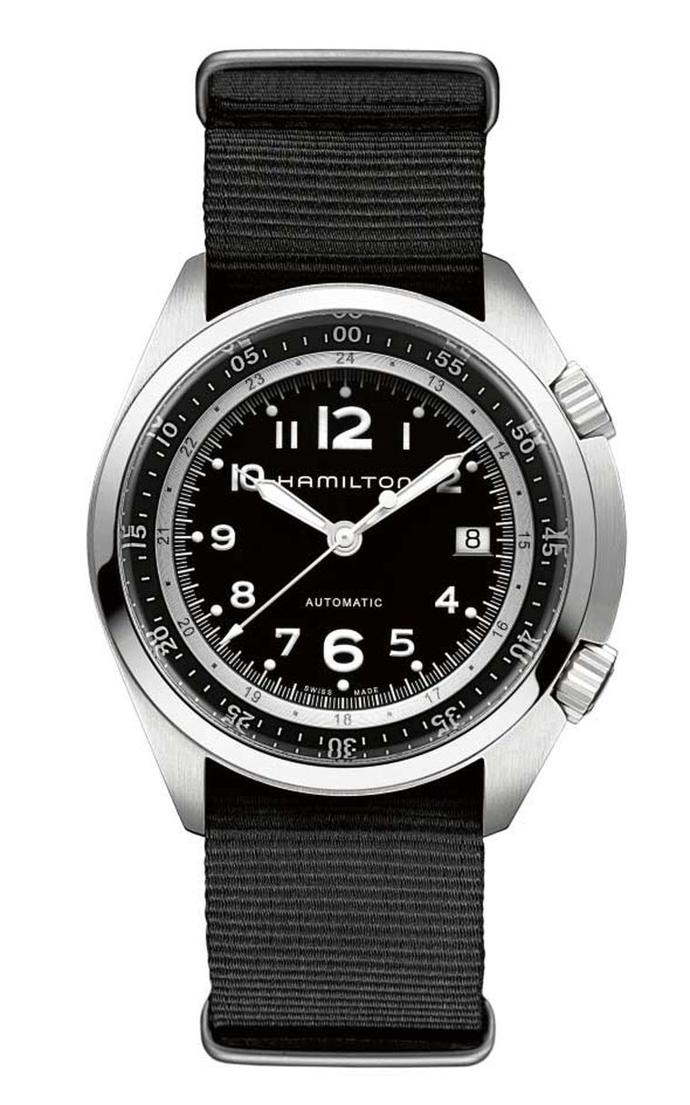 Hamilton's 80-hour power reserve Khaki Pilot Pioneer comes in lightweight aluminium and a variety of colours, as well as the more straight-forward, heavier steel model on a black NATO fabric strap pictured here