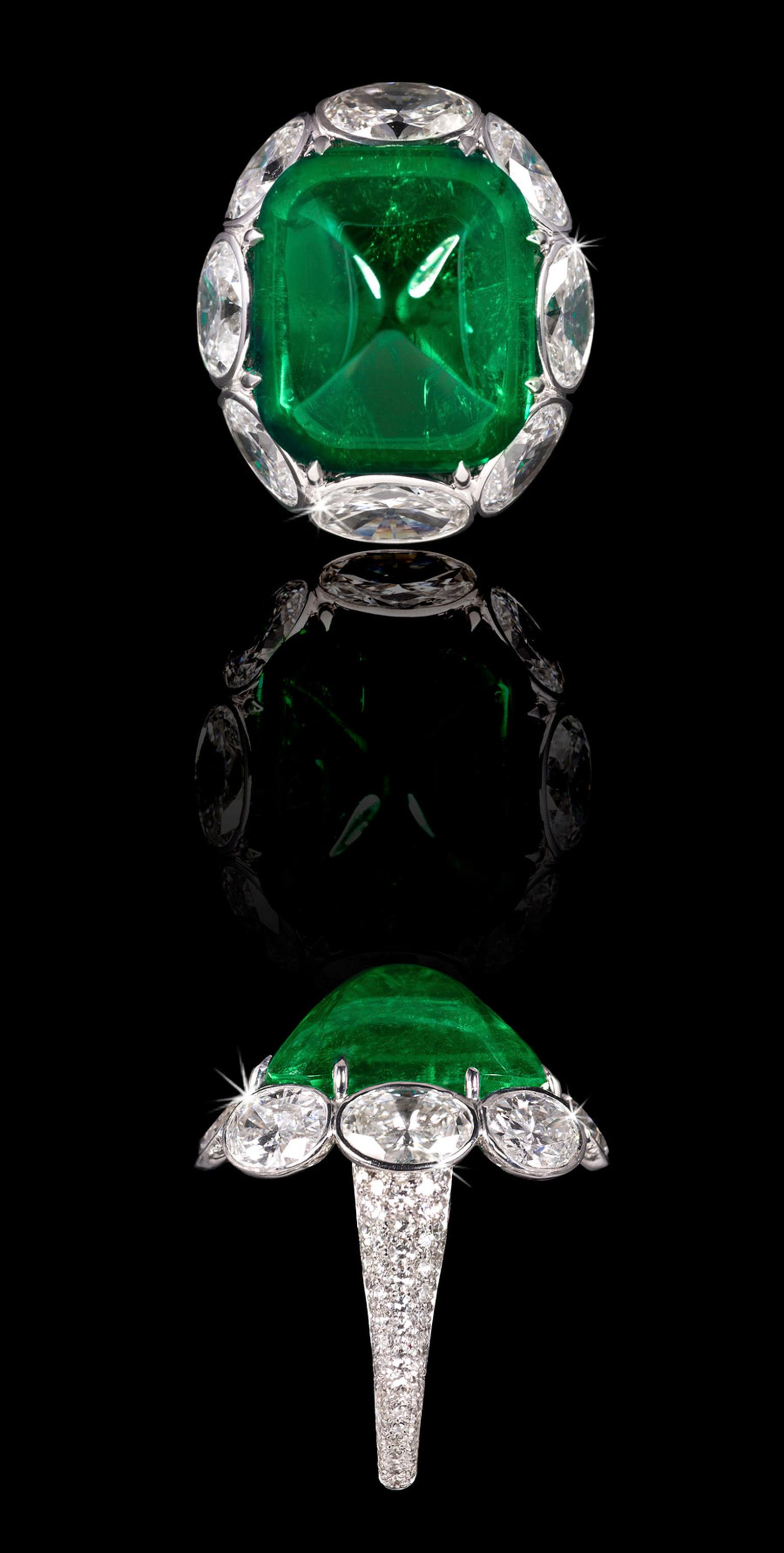 David Morris Emerald-Ring-With-White-Oval-Diamond-Surround