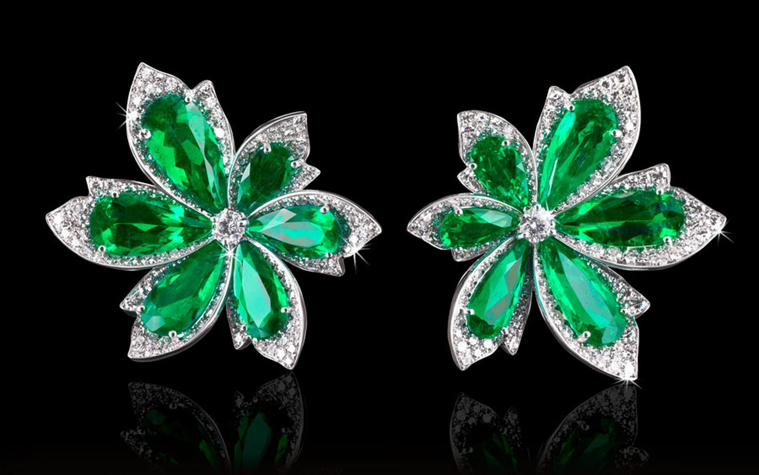 David Morris Natural-Colombian-Emerald-Diamond-Palm-Leaf-Earrings