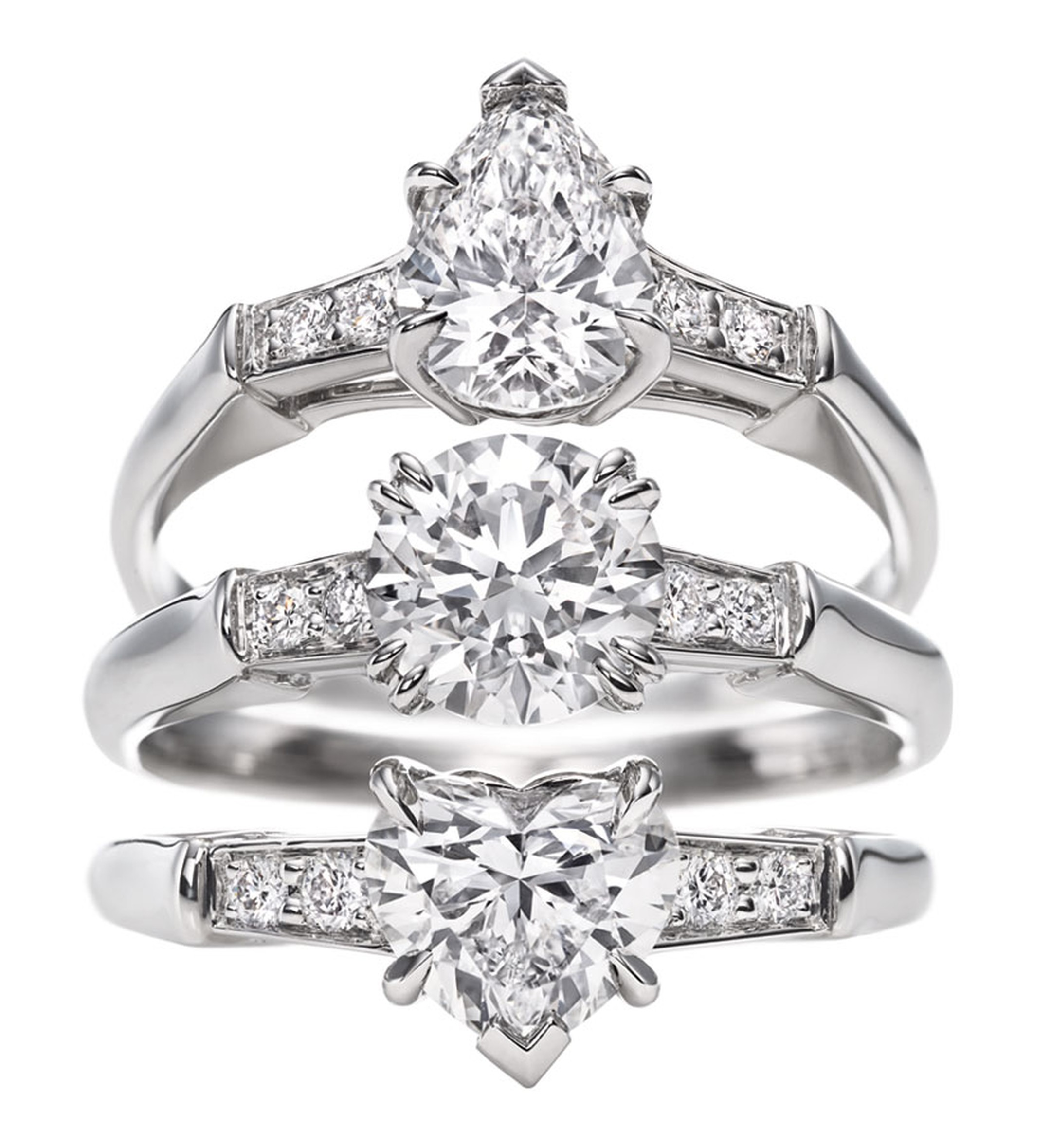 Harry Winston. Iconic Harry WInston Pear-Shaped Round Brilliant Heart-Shaped rings.
