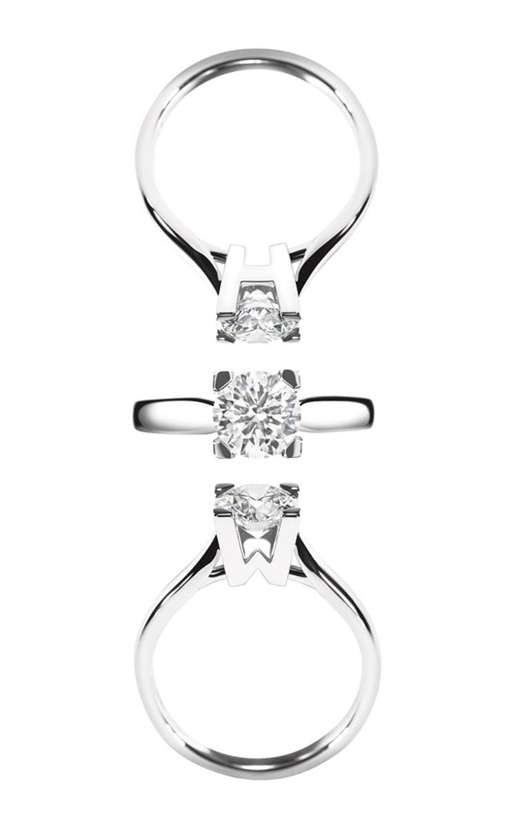 Harry Winston. Iconic HW enagement ring plain metal