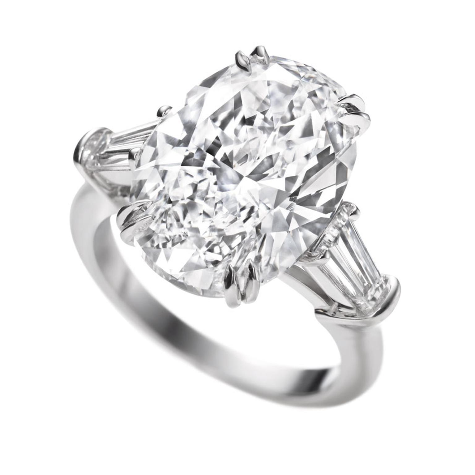 Harry Winston. Classic Winston Oval Diamond Engagement Ring