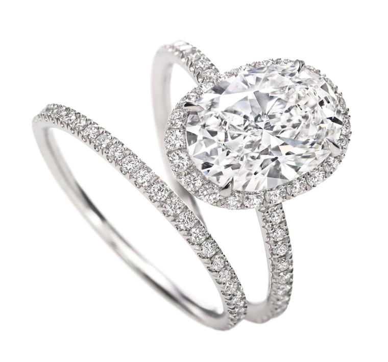 Harry Winston. Oval Micropave Diamond Ring and Micropave Diamond Band.
