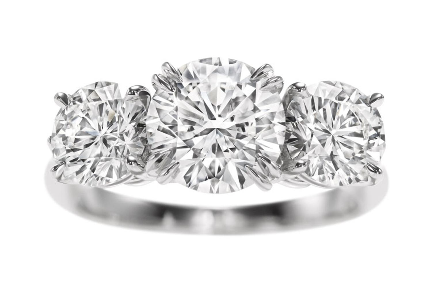 Harry Winston. Round Brilliant Three stone engagement ring.