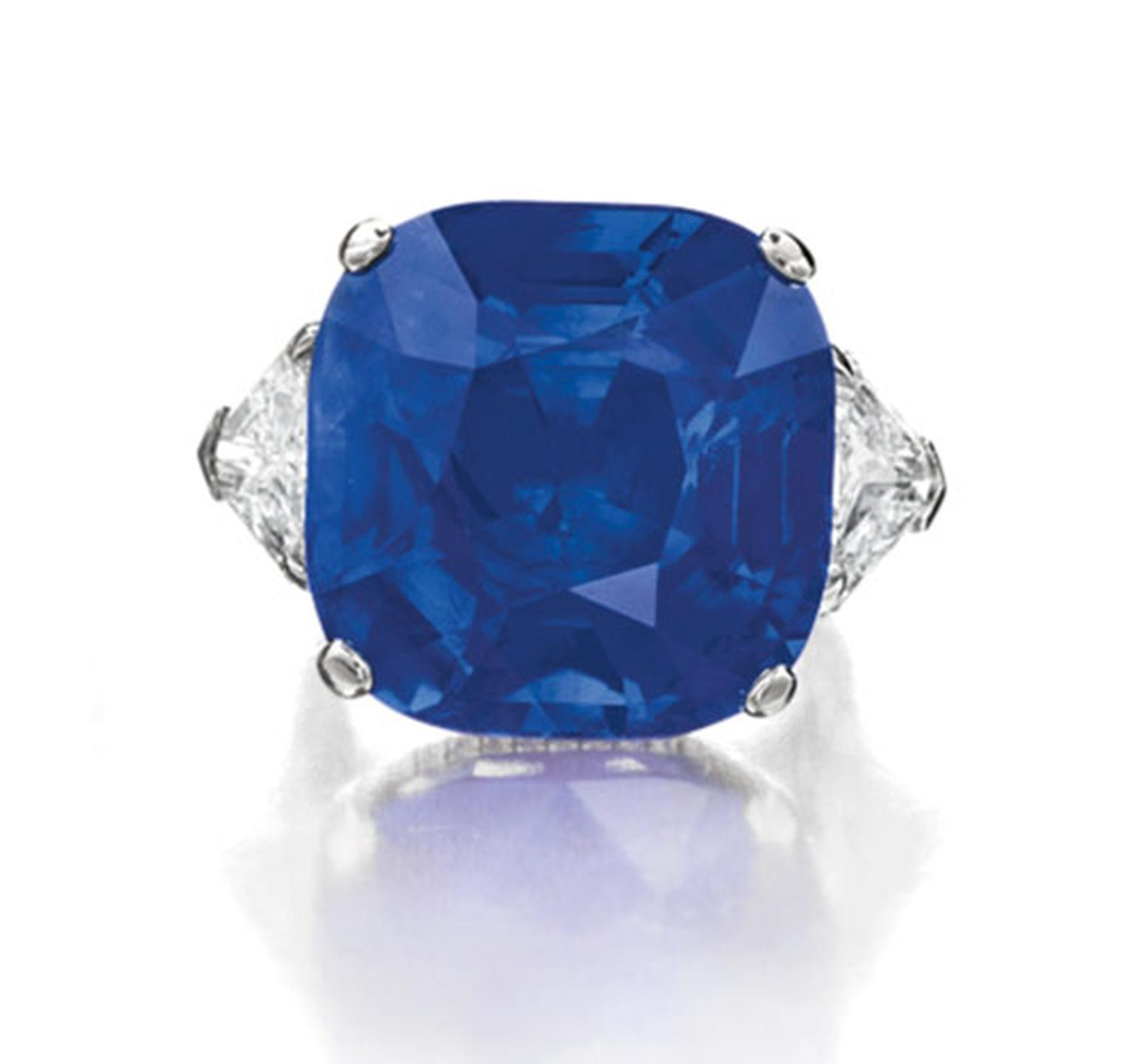 Christies-Cushion-Cut-Burmese-Sapphire-Diamond-Ring