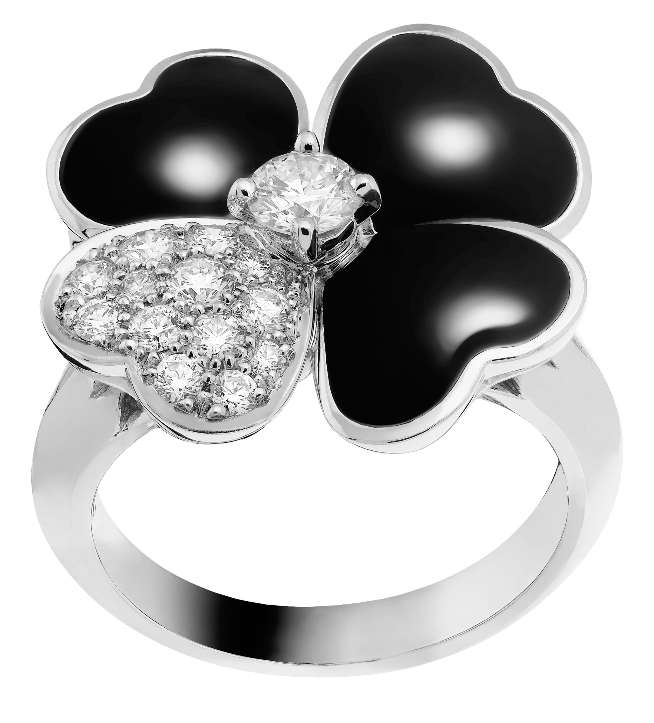 Van Cleef and Arpels Cosmos medium ring, white gold, onyx and diamonds_20140505_Zoom