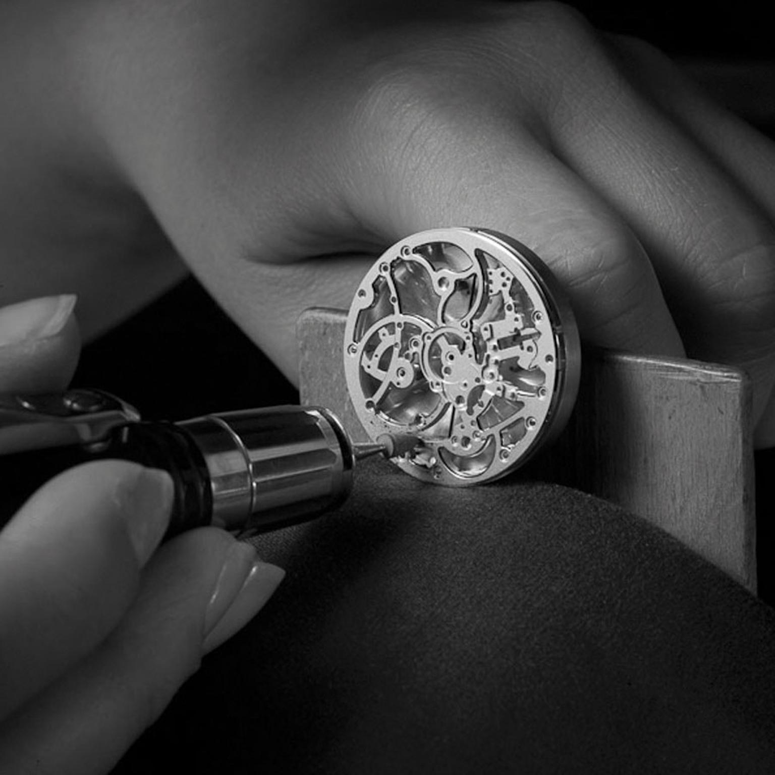 Piaget Altiplano Skeleton Hand bevelling of the mainplate