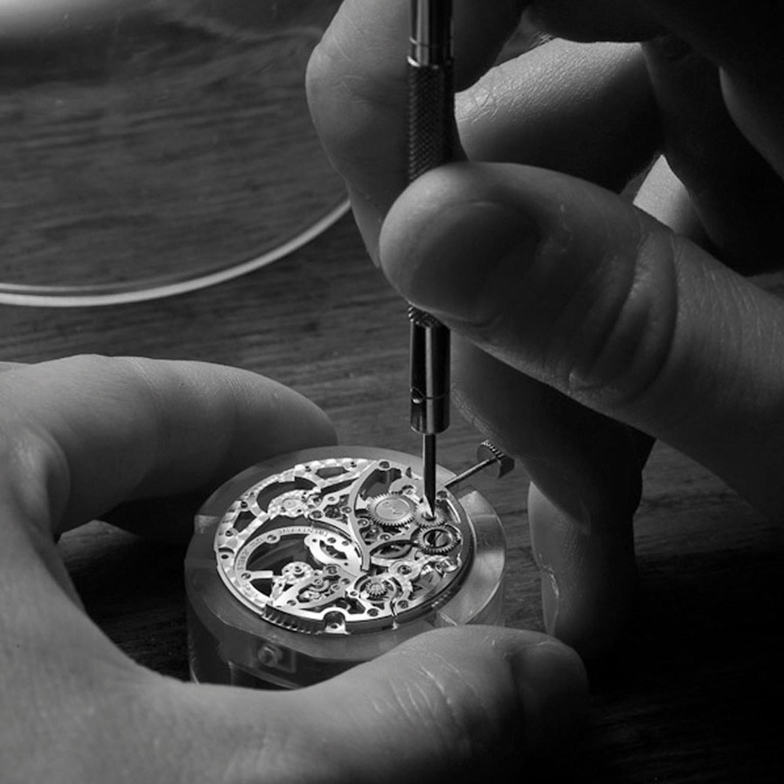 Piaget Altiplano Skeleton Screwing of the intermediate crown wheel