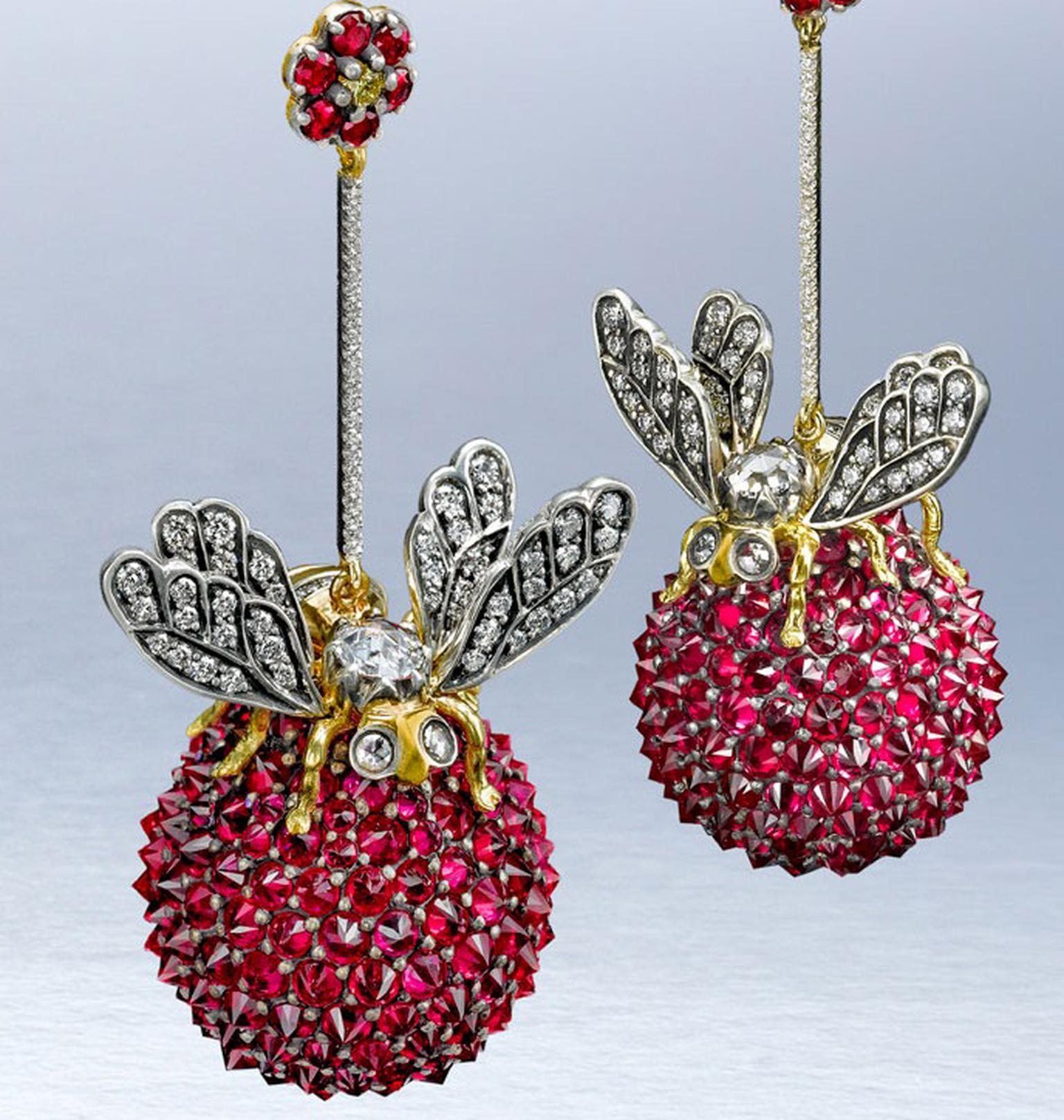 Ark Bees on a ruby ball earrings