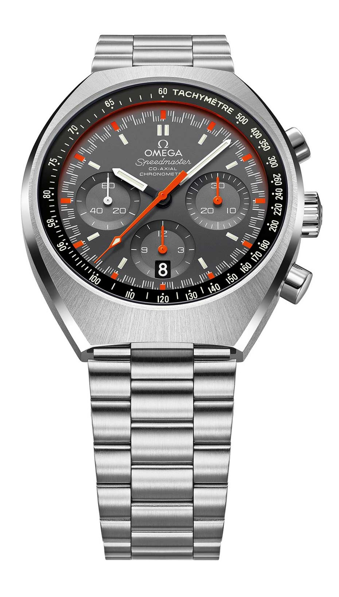 The late 60s and 70s are now considered 'vintage years' for watch design, and Omega's new Speedmaster Mark II captures the era perfectly, with its elongated barrel-shaped stainless steel case and fluorescent orange chronograph seconds hand with matching m