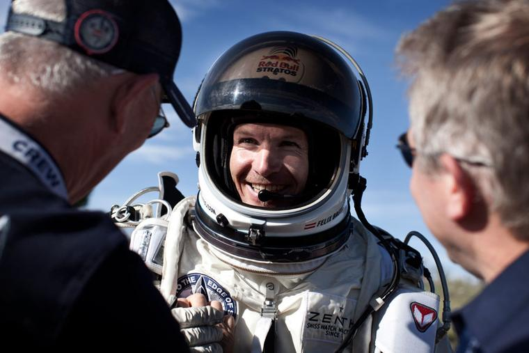Felix Baumgartner flies in his Zenith Stratos watch