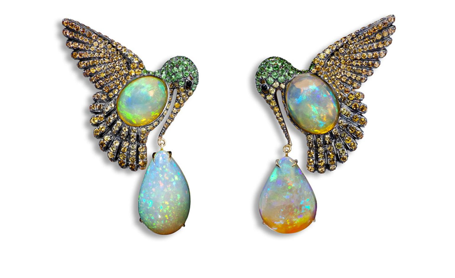 Lydia Courteille. Colibri earrings, orange Mexican opals, orange sapphires, green garnet, blackened gold. POA