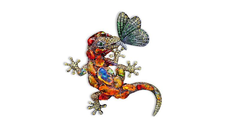 Lydia Courteille. Lizard broche, orange opals, fancy sapphires, gold. POA