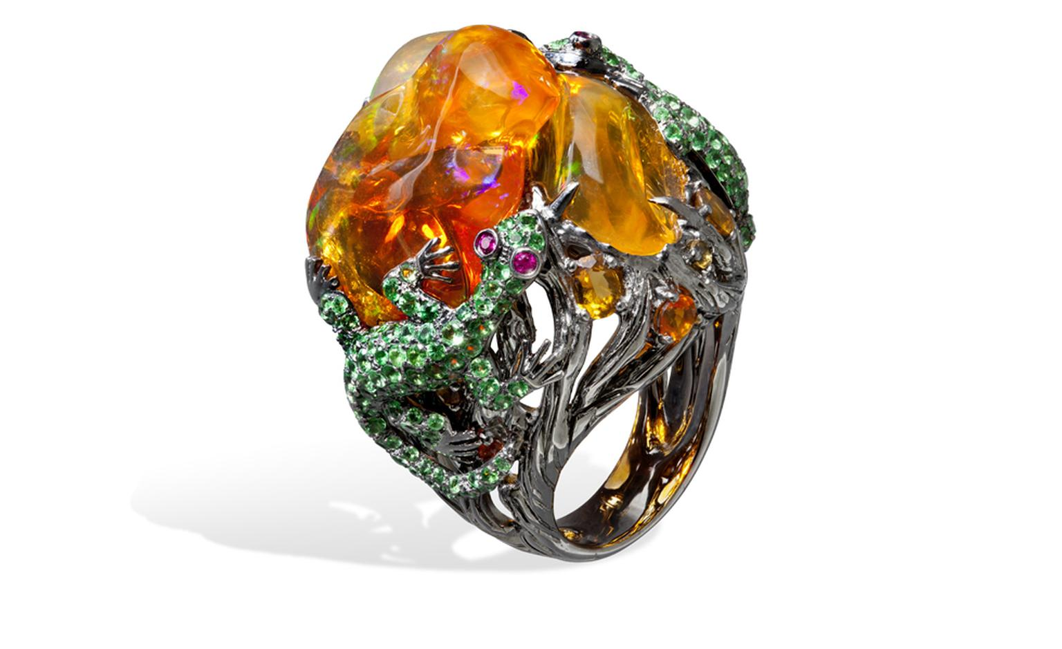 Lydia Courteille. Lizard ring, orange Mexican opals, rubies, green garnets, blackened gold. POA
