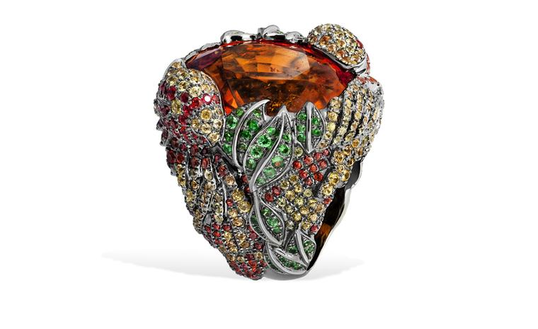 Lydia Courteille. Parrot ring, 60K orange garnet, fancy sapphires, green garnet, blackened gold. POA
