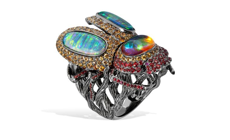 Lydia Courteille. Scarab ring, rubies, orange sapphires and opals, blackened gold. POA