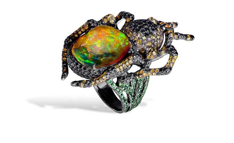 Lydia Courteille. Spider ring, orange Mexican opal, black diamonds, orange sapphires, green garnets, blackened gold. POA