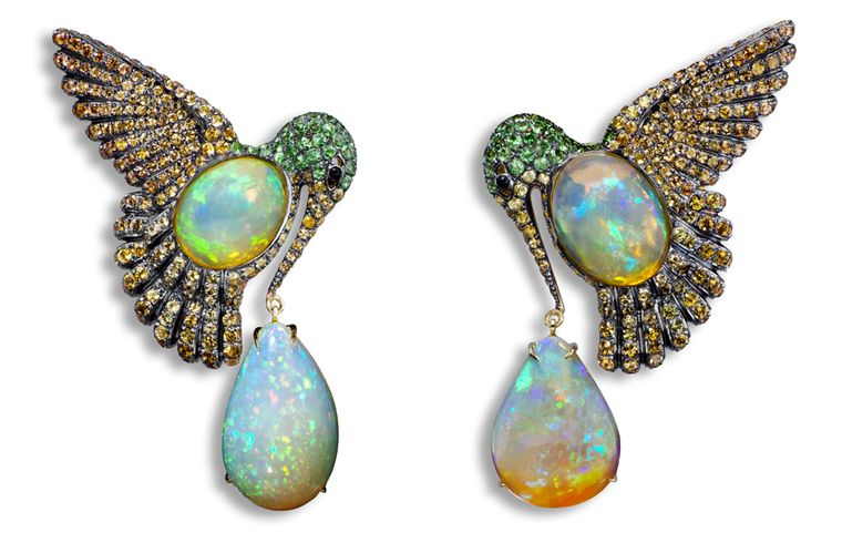 Lydia Courteille. Colibri earrings, orange Mexican opals, orange sapphires, green garnet, blackened gold. MAIN PIC