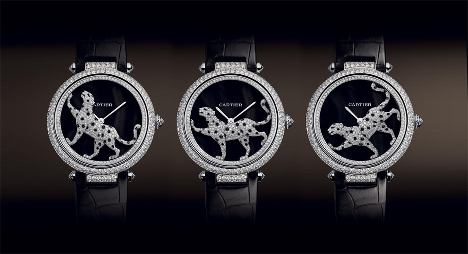 Cartier. Masse Secre`te panther de´cor watch, Calibre 9603. White gold, diamonds, deep purple mother of pearl and sapphire. Black semi-matte alligator skin. POA. MAIN PIC