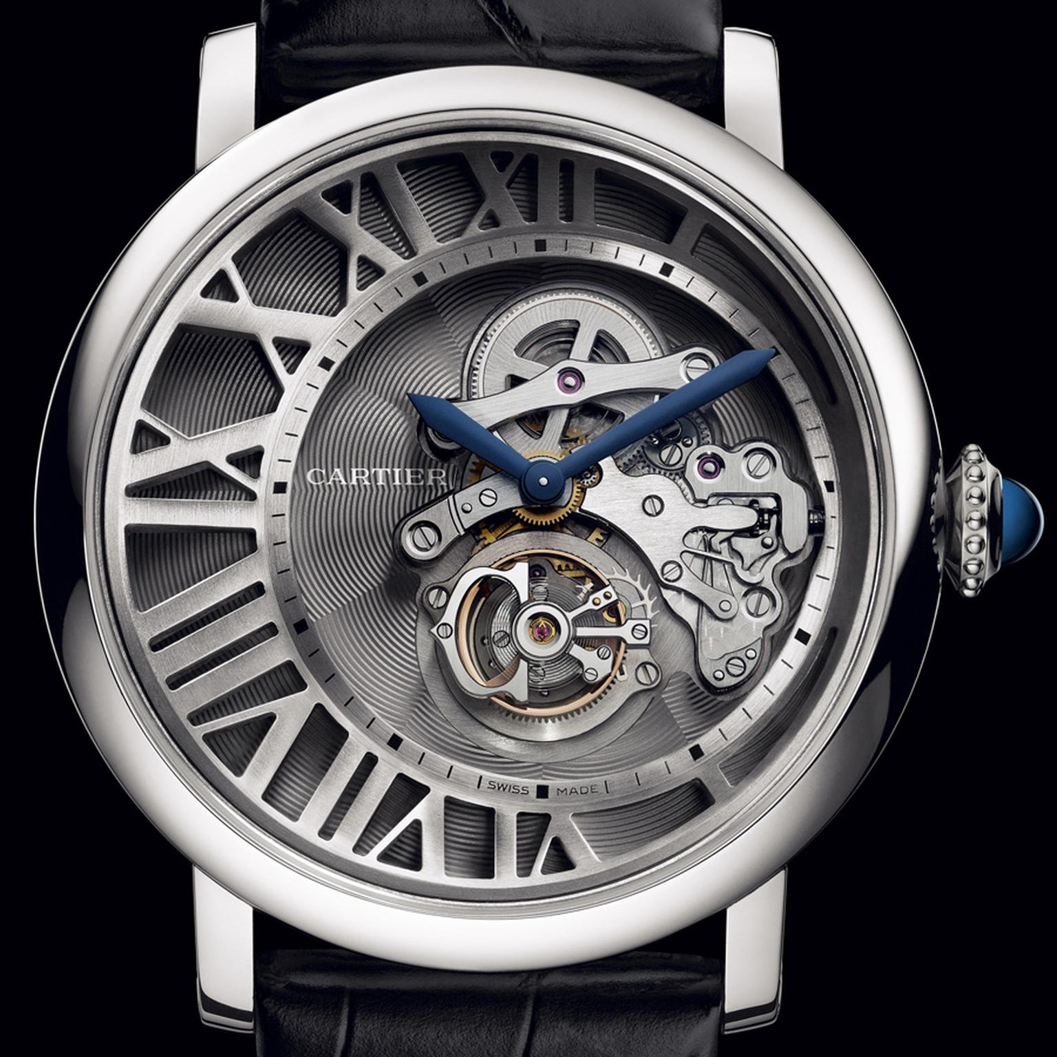 Cartier. Rotonde de Cartier Cadran Love´ flying tourbillon watch, Calibre 9458 MC 2. White gold, and sapphire with a black semi-matt alligator skin. POA.